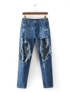 Dámské Mikro elastické Džíny Kalhoty Volné Rovné Mid Rise Jednobarevné