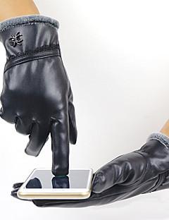 Women's PU Leather Wrist Length Fingertips,Pure Accessories Winter Gloves Windproof Keep Warm Waterproof Solid Winter