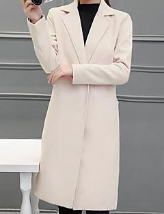 baratos -Feminino Casaco Casual Simples Inverno Outono,Sólido Longo Lã Colarinho de Camisa Manga Comprida