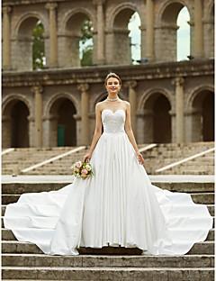 billiga Plusstorlek brudklänningar-A-linje Axelbandslös Asymmetrisk Satäng Bröllopsklänningar tillverkade med Sidodraperad / Knapp av LAN TING BRIDE® / Öppen Rygg