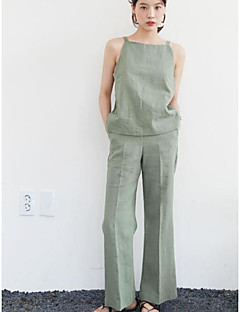 Dames Street chic Lente Zomer tank Top Pantalon Kostuums,Uitgaan Casual/Dagelijks Effen Bandje Mouwloos