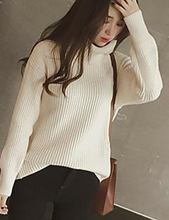 Normal Pullover Fritid/hverdag Dame,Ensfarget Rullekrage Langermet Bomull Akryl Vinter Medium Mikroelastisk