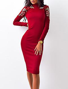 お買い得  レディースドレス-女性用 ストリートファッション ボディコン ドレス - 花柄, フラワー / ビンテージ / 刺しゅう 膝丈 レッド