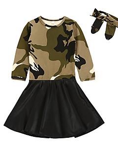 tanie Odzież dla dziewczynek-Sukienka Poliwęglan Bawełna Dziewczyny Codzienny Urlop kamuflaż Wiosna, jesień, zima, lato Długi rękaw Moda miejska Army Green