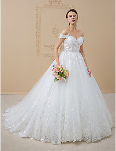 cheap High-end Wedding Dresses-A-Line / Princess Off Shoulder Chapel Train Tulle / Glitter Lace Made-To-Measure Wedding Dresses with Sequin / Lace by LAN TING BRIDE®
