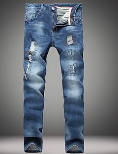 Herren Einfach Mittlere Hüfthöhe Dehnbar Jeans Chinos Jeans Chinos Hose,Ripped Solide