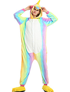 billige Kigurumi-Kigurumi-pysjamas Pegasus Enhjørning Onesie-pysjamas Kostume Fløyel Mink Gul Regnbue Rose Blå Rosa Cosplay Til Pysjamas med dyremotiv