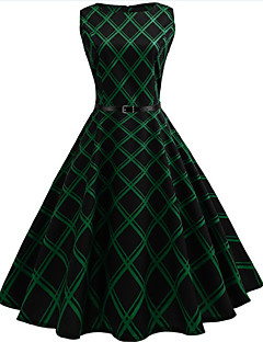Women's Daily Holiday Vintage Sheath Swing Dress,Houndstooth Round Neck Knee-length Sleeveless Cotton Polyester Summer High Rise