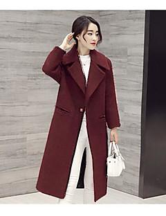 Dámské Jednobarevné Bavlna Jednoduchý Kabát-Podzim Zima Vlna Akryl Do V Dlouhý rukáv Dlouhé