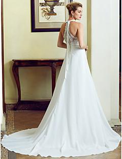 billiga Plusstorlek brudklänningar-A-linje / Prinsessa Prydd med juveler Svepsläp Chiffong / Blomsterspets Bröllopsklänningar tillverkade med Applikationsbroderi / Spets av