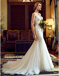 billiga Brudklänningar-Trumpet / sjöjungfru Smala axelband Kapellsläp Tyll / Spets på tyll Bröllopsklänningar tillverkade med Applikationsbroderi / Spets av LAN