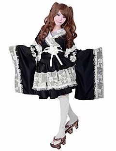 billiga Lolitaklänningar-Söt Lolita Lolita Satin Dam Outfits Piguniform Cosplay Svart Långärmad Lolita Kostymer
