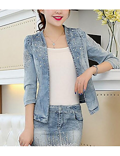 Women's Daily Going out Street chic Fall Denim Jacket,Solid Stand ¾ Sleeve Short Polyester