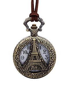 billige Læder-Herre Lommeure Skeletur Kinesisk Quartz Stor urskive Læder Bånd Vintage Eiffeltårnet Brun