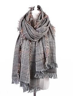 Women's Cotton Linen Rectangle Plaid Fall Winter