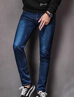 Herre Enkel Mikroelastisk Jeans Bukser,Mellomhøyt liv Ensfarget