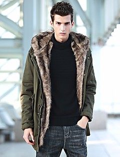 Men's Parka Coat,Simple Casual/Daily Solid-Faux Fur Polyester Long Sleeves