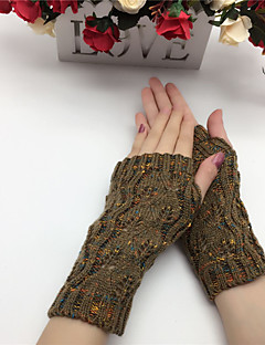 Women's Acrylic Wrist Length Half FingerCasual Patchwork Winter