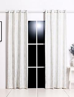baratos Cortinas Personalizadas-Barra no Interior Anéis Presilhas Duplo Plissado Tratamento janela Formal Casual Modern, Jacquard Damasco Floral Quarto Mistura de