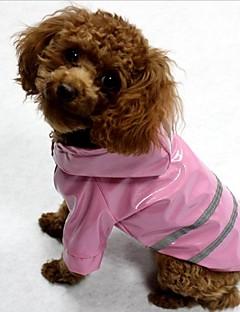 billiga Hundkläder-Katt Hund Kappor Regnjacka Fukt / Vattentät Reflexband Hundkläder Rand Gul Röd Blå Terylen Kostym För husdjur Vattentät Med belysning