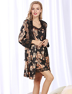 billige Moteundertøy-Dame Dress Pyjamas-Ensfarget,Trykt mønster