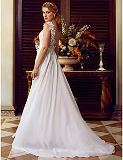 billiga Plusstorlek brudklänningar-A-linje Bateau Neck Svepsläp Chiffong / Snörningsspets Bröllopsklänningar tillverkade med Applikationsbroderi / Skärp / Band av LAN TING