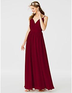billige Romantisk rosa-A-linje / Prinsesse Spagettistropper Gulvlang Chiffon Brudepikekjole med Belte / bånd / Sidedrapering av LAN TING BRIDE® / Åpen rygg