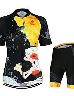 billige Sykkelklær-Arsuxeo Dame Kortermet Sykkeljersey med shorts - Svart/Gul Blomster / botanikk Sykkel Klessett, Fort Tørring, Anatomisk design, Pustende,