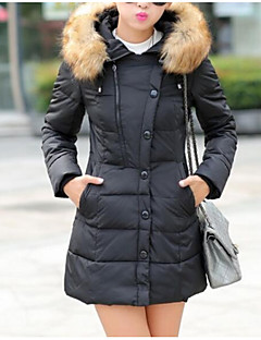 Women's Parka Coat,Casual Cotton Daily Solid-Cotton Long Sleeves
