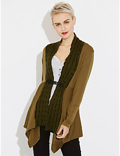 Women's Casual/Daily Regular Cardigan,Solid V Neck Long Sleeves Cotton Fall Medium Micro-elastic