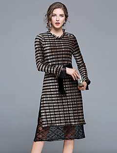 cheap Women's Dresses-Women's Daily Going out Sexy Street chic Sheath Midi Dress, Striped Lace Asymmetrical Long Sleeves