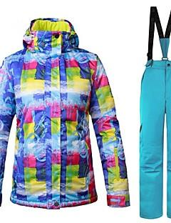 billiga Skid- och snowboardkläder-Dam Skidjacka och -byxor Varm Ventilerande Vindtät Bärbar vattenbeständigt Skidåkning Multisport Vintersport Polyester