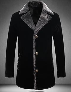 Polyester Lang Langermet,Skjortekrage Frakk Fargeblokk Vinter Høst Søtt Gatemote Ut på byen Fritid/hverdag Herre