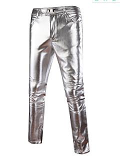 billige Herremote og klær-Herre Fritid Mikroelastisk Chinos Bukser,Mellomhøyt liv Bomull Polyester Ensfarget Vår Høst