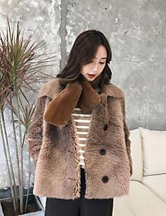baratos -Feminino Casaco de Pêlo Casual Simples Inverno,Sólido Padrão Lã Rainha Anne Manga Longa