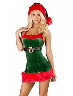 Holiday Santa Claus Mrs.Claus Outfits Female Christmas Festival / Holiday Halloween Costumes White Green Solid