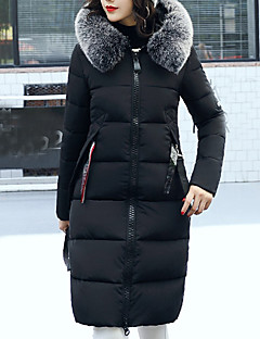 Women's Long Padded Coat,Casual Daily Solid-Polyester Polypropylene Long Sleeves