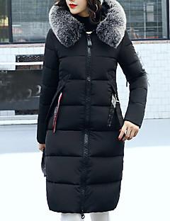 Damen Gefüttert Mantel,Lang Einfach Lässig/Alltäglich Solide-Polyester Polypropylen Langarm