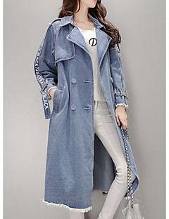 Women's Daily Going out Simple Casual Fall Denim Jacket,Solid Shirt Collar Long Sleeves Long Cotton