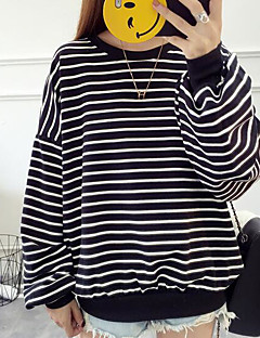 Women's Daily Casual Sweatshirt Striped Cotton
