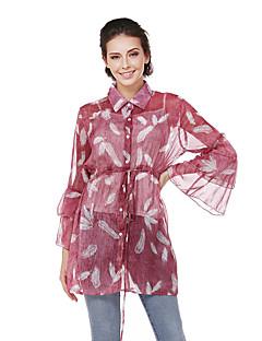 Damen Druck Street Schick Ausgehen Lässig/Alltäglich Hemd,Hemdkragen Frühling Herbst Langarm Nylon Semi-transparent