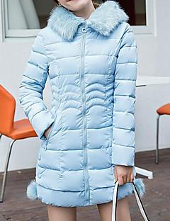 Χαμηλού Κόστους Women's Down Coats-Γυναικεία Εξόδου Καθημερινό / Ενεργό Βαμβάκι Πουπουλένιο - Μονόχρωμο / Ριγέ, Στάμπα / Blană Curată