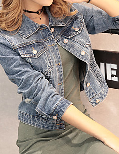 Women's Daily Simple Casual Spring, Fall, Winter, Summer Denim Jacket,Solid V Neck Long Sleeve Short Cotton