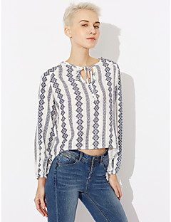 Women's Going out Vintage Shirt,Striped Shirt Collar Long Sleeve Rayon