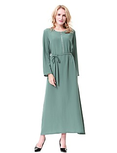 cheap Maternity Dresses-Women's Party Casual/Daily Simple Vintage Active Loose Jalabiyah Kaftan Dress,Solid Round Neck Midi Long Sleeve Wool Polyester All Season