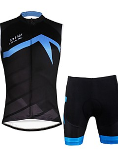 4d78cf721 ILPALADINO Men s Sleeveless Cycling Jersey with Shorts - Black   Blue Bike  Vest   Gilet Padded Shorts   Chamois Clothing Suit 3D Pad Quick Dry Sports  Lycra ...