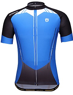 cheap -Cycling Jersey Men's Short Sleeves Bike Jersey Quick Dry Stretchy Breathability Polyester Geometric Spring Summer Blue