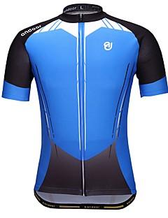 billige Sykkeljerseys-Sykkeljersey Herre Kortermet Sykkel Jersey Sykkelklær Fort Tørring Pusteevne Stretch Geometrisk Sykling / Sykkel Blå