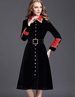 Dames Eenvoudig Verfijnd Street chic Herfst Winter Trenchcoat,Uitgaan Casual/Dagelijks Kleurenblok Overhemdkraag Lange mouw Lang Polyester