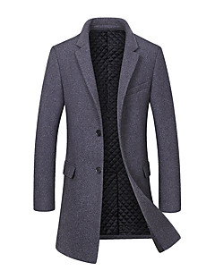 Men's Daily Simple Casual Winter Fall Coat,Solid V-neck Long Sleeves Long Wool Polyester